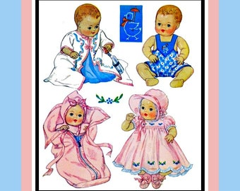 Vintage 1937-DY-DEE DOLL Wardrobe-Sewing Pattern-Kimono-Sun Suit-Dress- Bonnet-Slip-Bunting Bag-Transfer-15 Inch-Mega Rare-Collectible