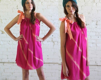 deep sunset pink -- vintage 70s TIE DYE chiffon dress size S/M