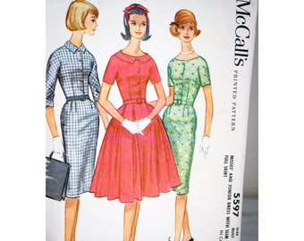 Uncut Complete Factory Folded Vintage Sewing Pattern 3/4 Sleeves Belted Button Front Dress Jackie O Misses McCall's Bust 38 1960s Women