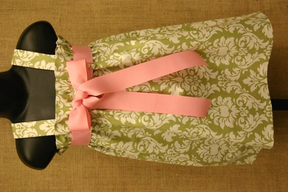 Size 6...READY TO SHIP...Green and White Damask Zadee Dress .. Adorable jumper with interchangeable Ribbon