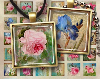 1x1 inch (25x25mm) and 7/8x7/8 inch images NOSTALGIA FLOWERS printable download Digital Collage Sheet for pendants magnets bezel settings