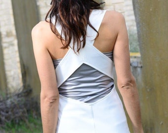White wedding dress-Geometric white wedding gown dress-Maxi white dress-Made to order