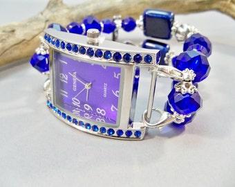 Blue Large Chunky Watch,  Interchangeable Stretch Band and Watch, Beaded Watch Band, Stretch Band Watch, Watch Bracelet