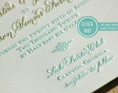 Gold and Turquoise or Mint Letterpress Wedding Invitations DEPOSIT Hand Calligraphy Monogram