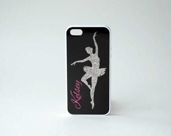 Dancer iPhone Case + Monogram + Ballerina + Hot Pink  iPhone 4, 4s, 5, 5s, 5c, 6, 6s, 6 Plus, 6s Plus Case, Galaxy S3, S4, S5, S6 Case