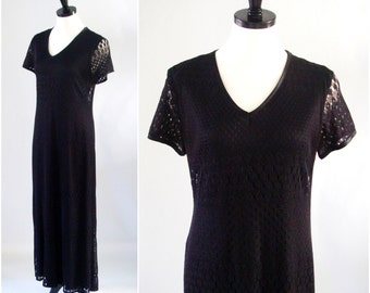 Vintage Lace Dress, Fall / Autumn Black Maxi Dress,  Long Lace Dress with Short Sleeves by Breakin Loose, Size Large 11/12