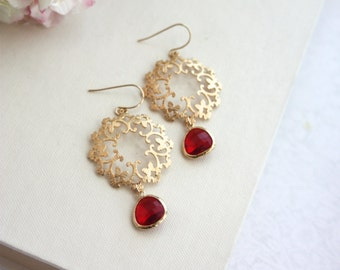 Gold Ruby Red, Moroccan, Boho, Gypsy Filigree, Chandelier Red Wedding Earrings. Bridesmaids Gifts. Mothers Day Gift. Fuchsia Red, Winter BFF
