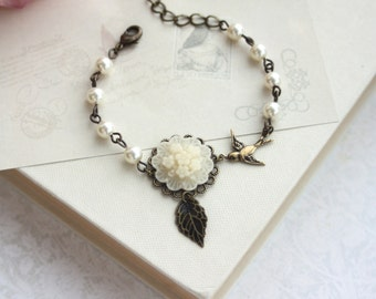 Ivory Floral Bouquet Flower, Flying Swallow Bird, Ivory Pearls Brass Adjustable Bracelet. Bridesmaid Gift, Sis, Bridal Rustic Wedding Gift