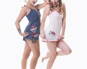 Cat Camisole, Spotty Pyjama Top, Kitten Vest Top, Retro Pyjamas, Tattoo Sleepwear, Cat Pyjamas Sizes xs-xxl, TOP ONLY