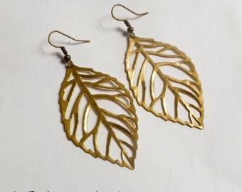 GOLD Leaf Earrings - Autumn Fall Jewelry Accessory - Skeleton Filigree Leaf Earrings on Antique Bronze Earring Hooks