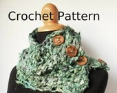 Crochet Pattern for Sari Ribbon Buttoned Cowl Pattern Digital Download Spring scarf Silk Scarf Neckwarmer