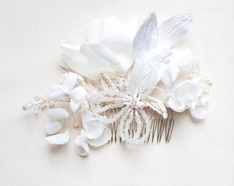 White Orchid Hair Comb Bridal