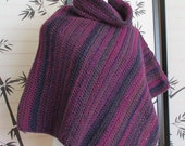 Womens Poncho Crochet Orchid Purple Striped Cowl Neck