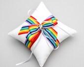 Rainbow wedding ring pillow, ring bearer, rainbow decor - Rainbow bow