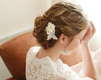Wedding lace hair pin, ivory lace hair comb, bridal hair clip, wedding hairpin - style 116
