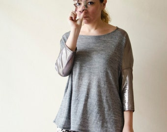 Oversized Blouse Silver and Grey Batwing Tee, Boxy Jersey Tunic Top with Metallic Details