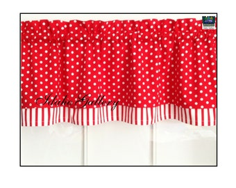 Cherry Red and White Stripe and Polka Dot Double Layer Little Curtain Retro Style Valance