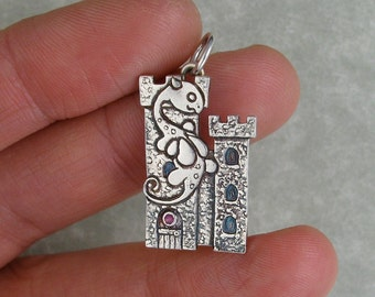 Fairy dragon on a castle with ruby window fine silver pendant charm PMC DTPD