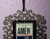 Amen Saints Superbowl Ornament New Orleans black w/ gold glitter
