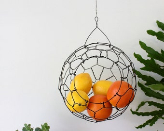 Hanging Fruit Basket, Wire Basket, Sphere, Handmade
