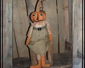 soft sculpted appliqued jack o lantern pumpkin head rag doll HAFAIR HAGUILD ofg Halloween