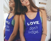 SALE love tank top, yoga tank, lgbt tank, gay pride tank, all lives matter tank, yoga clothing, loose tank, royal blue tank, yoga top