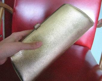 Vintage Gold Purse w/ Hidden Metal Chain Strap - 1960's Ladies Clutch