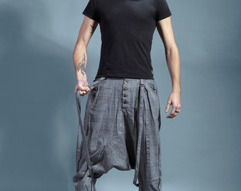"""harem pants men man sarouel light grey harem pants ninja pants """" Enjoy the silence"""""""