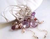Silver Hoop Earrings Amethyst Earrings Pearl Earrings