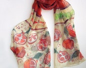 Pomegranates scarf silk chiffon scarf hand painted Silk shawl scarf in red terracotta green Handpainted silk Long fruits scarf MADE TO ORDER