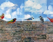 Whimsical Bird Art Collage Fine Art Giclee Print Flock Together  8 x 12