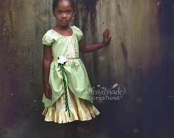 Tiana - Princess Inspired Dress with Detachable Flower Clip - Princess and the Frog - Sizes 1/2 to 8
