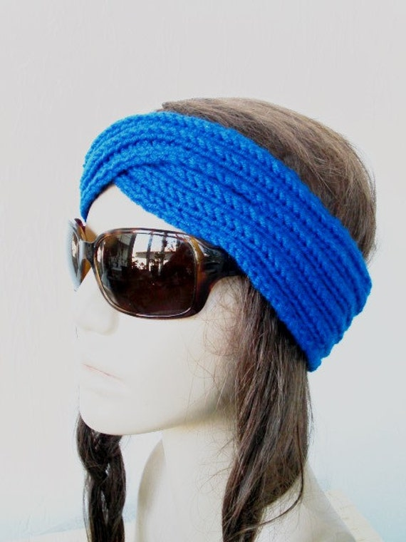 Hippie Headband Knitting Pattern : Items similar to Yoga Headband - Knit Boho Headband ...