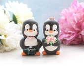 Custom Penguin wedding cake toppers - scottish kilt tartan personalized