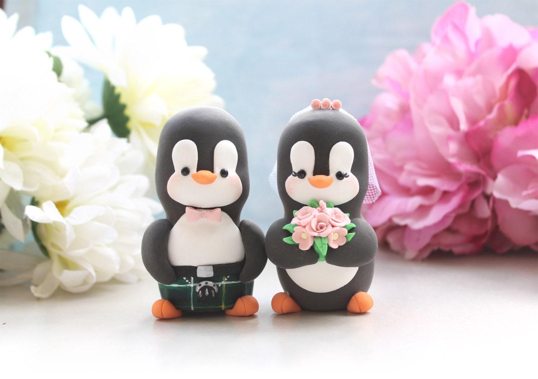 Scottish kilt tartan wedding cake toppers Penguins
