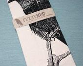 FALL SALE!  Raven Tea Towel - Hand Printed Flour Sack Tea Towel