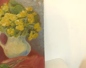 Shabby Chic Roses Painting, Naive Still Life / Original Art on Canvas Board. Yellow, Grey Blue, Red Earth.