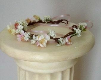 Woodland Wedding Crown Blush Pink 2017 Bridal Trends Flower Hair Wreath Hairpiece floral headband Apple Blossom garland flower girl halo