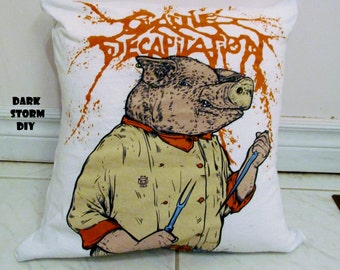 Cattle Decapitation Pillow #1 DIY Death Metal Decor - Pig Chef (Cover Only)