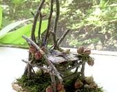 Woodland Fairy House Chair Rose Buds Moss Magical Nature Art Sculpture