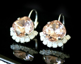 Vintage Pink Swarovski Crystals with a Half Halo of Opal Crystals on Silver Leverback Earrings