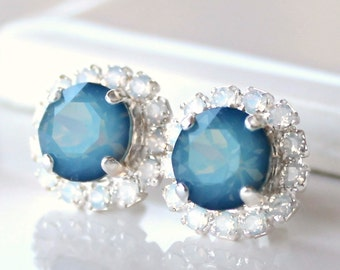 Blue Opal Swarovski Crystals Framed with White Opal Halo Crystals on Silver Post Earrings