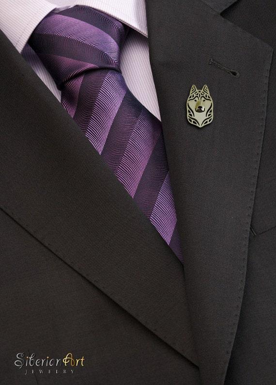 Siberian husky brooch - gold vermeil (18K gold plated sterling silver).
