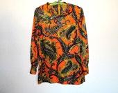 60s Vintage Knit Tunic Top / Edith California Mod Paisley Shirt / Orange Mustard Purple Print Blouse / Ladies Small Medium Mad Men