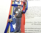 Marine USA Bookmark with I Love My Military Man Charm, Red and Blue Ribbon, Zine, Journals, Soldier, Verteran's Day, Memorial Day
