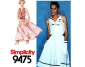 1980s Vintage Dress Pattern Simplicity 9475 Sailor Dress Full Skirt Patch Pockets Nautical Dress Womens Sewing Pattern Size 10
