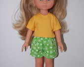 "Yellow T-shirt  and Green Shorts Doll Clothes Corolle 13"" Les Cheries 14"" Hearts for Hearts  tkct433"