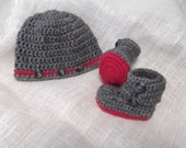 Little Man Hat and Button Flap High Top Boots - newborn - one and only - ready to ship
