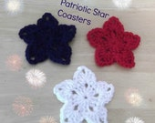 Patriotic Star Coasters - Set of Six - red white and blue - ready to ship