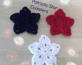Patriotic Star Coasters - Set of Six - red white and blue